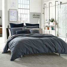 """KENNETH COLE Queen Duvet Cover DOUGLAS Reversible, in BLUE Plaid, 92"""" x 96"""", NEW"""