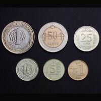 [T-3] Turkey Set 6 Coins, 1 5 10 25 50 Kurush+ 1 Lira, 2009, UNC