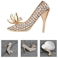 Women Girls Rhinestone High Heeled Shoes Brooch Pin Crystal Brooch King Jewelry
