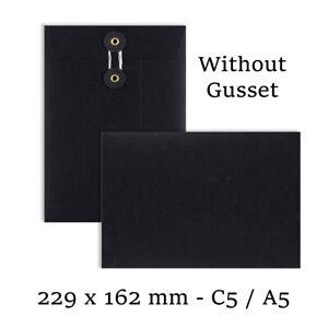 C5 Size Quality String & Washer Black Color Envelopes Button-Tie Cheap