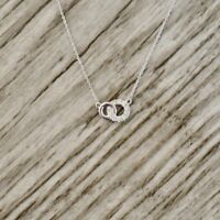 """VINTAGE $1000 0.18CT DIAMOND CIRCLE W/ 18"""" CHAIN NECKLACE IN 14K WHITE GOLD OVER"""