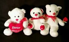 Set of 3  Little White Valentine's Day Teddy Bears w/ Red Ribbons