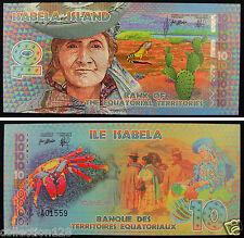 Equatorial Territories Polymer Plastic Note 10 Francs 2014 UNC, ISABELA ISLAND