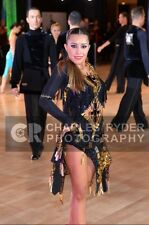 Black and gold Latin Rhythm competition ballroom dress