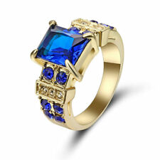 Size 6 Blue Sapphire CZ Engagement Ring Wedding Band yellow Gold Rhodium Plated