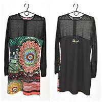 Womens Desigual 46V2803 Dress Black Floral Print Long Sleeve Size 42 / UK14