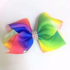 Rainbow Hair Bows Girls Diamante Hair Clip Accessories 12cm LYB76
