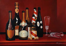 """Wine Bottles Hand Painted Oil Painting On Canvas 48"""" x 36"""" Restaurant or Kitchen"""