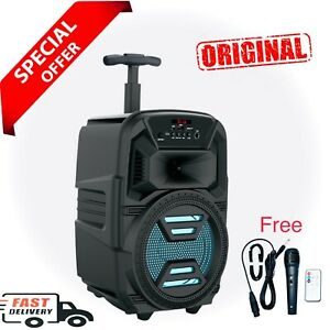 Portable Wireless FM BT Speaker Subwoofer Heavy Bass System Party FREE New MIC