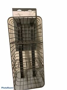 """Vertical 3 Cube Metal Wire Entryway Cubby Pewter Finish 18"""" Long Tall 7"""" W"""