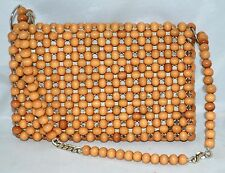 Vintage Brown Woven Together Wood Balls Handbag Made in Japan