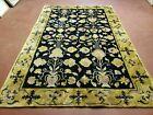 6' X 9' Modern Hand Made TIBETAN NEPAL Wool Silky Rug Carpet Black Gold Nice