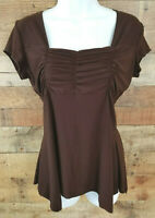 American City Wear Top Cap Sleeved Pleated Brown Stretchy Casual Blouse Size M
