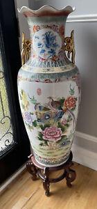 "Vintage Huge Chinese Japanese Porcelain Birds Design VASE 37"" Inches With Gold"