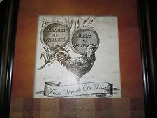"""Frais Viande De Poulet Framed Plaque, Kitchen or Dining Room Decor, New"