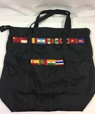 Baggallini Black Needlepoint Flags Cruise Laptop Purse Beach Bag Tote Vacation