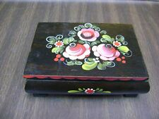 Vintage  Reuge Swiss Music Box Flowers ~ Hand Painted ~ The Happy Wanderer