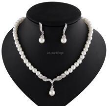 Strass Perlen Schmuck Set Halskette+Ohrringe Brautschmuck Hochzeit Silber