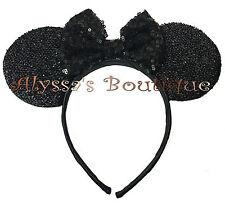 Minnie Mouse Ears Headband Shiny Black With Black Bow Birthday Party Favors Cute
