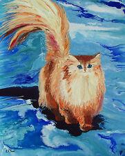 """Hand Painted Cute Cat Art Original Acrylic Painting """"Cheer"""" English LongHair Cat"""