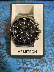 Armitron Men's Silver-Tone and Black Stainless Steel Dress Watch