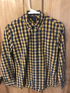 Basic Editions Boys Blue & Yellow Checkered Button Down Shirt Lrg (10-12)