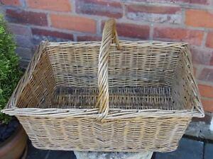 Vintage Large French Loaf Baguette Basket Hand Crafted Fireside Log WickerBasket
