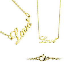 Love Lettering with Heart Pendant Gold IP Plated Stainless Steel Chain Necklace