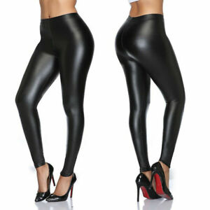 Women High Waist Faux Leather Skinny Pants Push Up Butt Lift Stretch PU Leggings