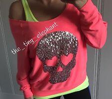 Victoria Secret Pink Bling Sequin Skull Off Shoulder Slouchy Sweatshirt Crew M