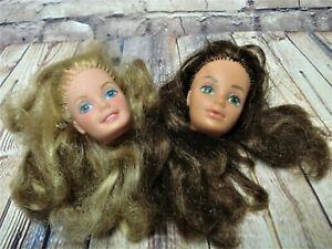 Vtg Barbie SUPERSTAR DOLL HEAD Lot ANGEL FACE AND PJ - STEFFIE 1980's 1970's