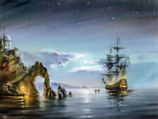 Landscape Pirate boat Sailboat Full drill 5D Diamond Painting Fashion Art N6079