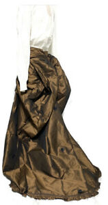 Victorian Steampunk Self Tie Taffeta Silk Brown Bustle Trail One Size