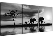 Black White African Sunset Elephants Canvas Print - 3 Piece - 125cm Wide - 3363