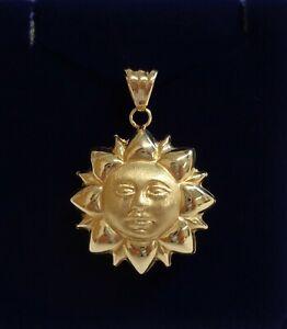 Fine Sun Face Pendant 750 (18ct) Yellow Gold - Length 36 mm