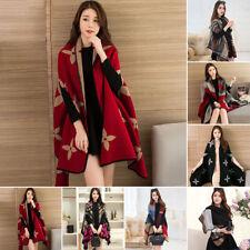 Women's Fuax Cashmere Plaids Blanket Cloak Poncho Cape Coat Shawl Cardigan Hot