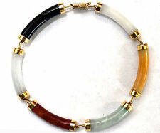 "Chinese 14K Solid Gold and Jade Bracelet 7 1/4"" Long"