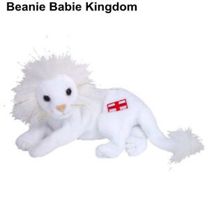 TY BEANIE BABIE PRIDE THE WHITE ENGLAND LION WITH ST GEORGE CROSS FLAG UK EXCL