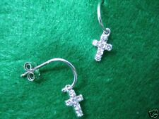 CROSS EPIPHANY DIAMONIQUE STERLING SILVER PLATINUM CLAD DANGLE EARRINGS