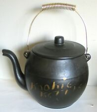 McCoy Kookie Kettle Black Cookie Jar w goldtone metal handle Vintage FREE SH