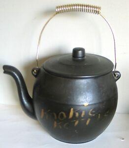 McCoy Kookie Kettle Black Cookie Jar w goldtone metal handle Vintage FREE SH