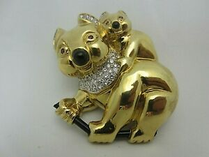 18K Yellow Gold Koala Bear Pin Diamond Ruby Black Onyx 30.5 grams