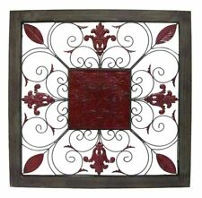 Decorative WALL ART 90cm sq Timber Frame Antique Red Scrolls & Leaves Designer