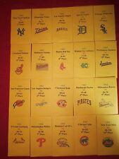 1962 Strat-O-Matic Baseball Printed Storage Envelopes with Stats and Team Logo