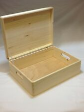 Solid Wooden Chest Box Case Memory Plain Wood Personalised Gift Storage Birthday