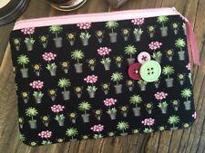 Flower makeup bag / purse Cosmetic floral plant pot fabric Zip pouch Gift idea