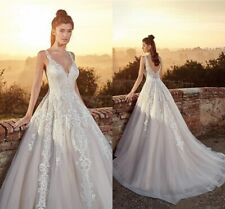 A Line Wedding Dresses Spaghetti Straps Backless Tulle Bridal Gown Lace Applique