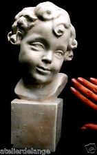 Buste visage de jeune garçon socle 28 cm en plâtre 2001