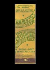 Vintage COLOMBO CAFE Club Matchbook, Casino Advertising, Reno, Nevada, 1940's?