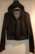 Mike & Chris Leather Hoodie Jacket Size Small Chocolate Brown $800